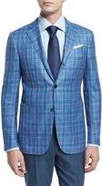 Ermenegildo Zegna Plaid Two-Button Jacket, Light Blue/Green