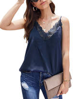Te.Crew By Zesica TE.CREW by Zesica Women's Tank Tops Blue - Blue Lace-Trim Crinkle Tank - Women