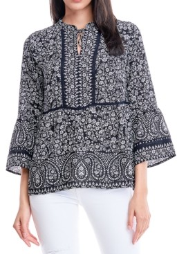 Fever Mixed-Print Bell-Sleeve Blouse