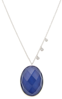 Meira T 14K White Gold, Blue Agate & 0.11 Total Ct. Diamond Pendant Necklace