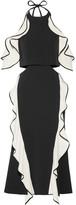 Jonathan Simkhai Cutout Ruffled Crepe Halterneck Midi Dress - Black