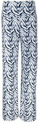 Norma Kamali Chevron Zebra Print Palazzo Trousers