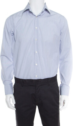 Etro White and Blue Checked Cotton Long Sleeve Button Front Shirt M