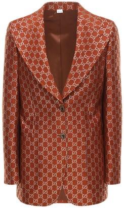 Gucci Gg Lame Light Wool Blend Blazer Jacket