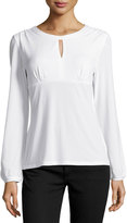 Laundry by Shelli Segal Keyhole Long-Sleeve Relaxed Top, Warm White