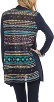 Celeste Navy Geometric Contrast-Back Open Cardigan