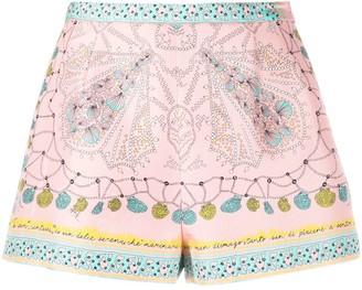 Emilio Pucci Conchiglie-print silk shorts