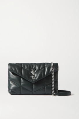 Saint Laurent Loulou Toy Quilted Leather Shoulder Bag - Dark green