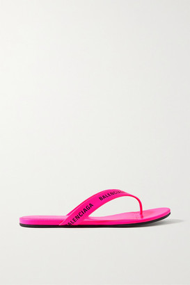 Balenciaga Logo-print Neon-leather Flip Flops - Pink