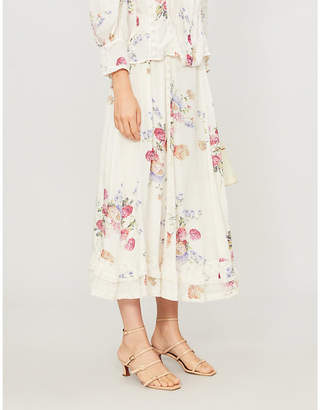 LoveShackFancy Navya floral-pattern silk skirt
