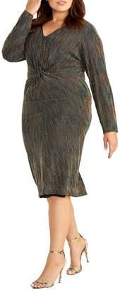 Rachel Roy Plus Knot-Front Knee-Length Dress