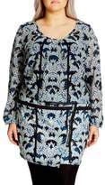 City Chic Plus Size Women's 'Stained Glass' Blouson Minidress