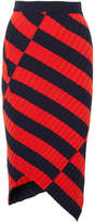 Altuzarra Mallory Asymmetric Striped Stretch-knit Midi Skirt - Red