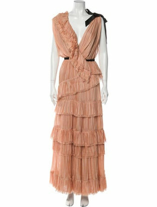 Johanna Ortiz Silk Long Dress Orange