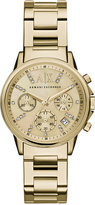 |A|X Armani Exchange Women's Chronograph Gold-Tone Stainless Steel Bracelet Watch 36mm AX4327