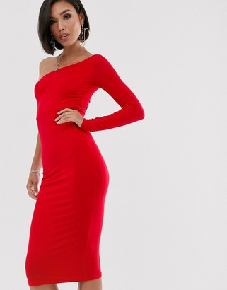 Asos Design DESIGN going out one sleeve bodycon midi dress-Red