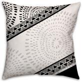 Striped Bohemian Tribal Square Throw Pillow in Black/White