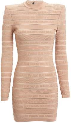 Balmain Logo Knit Bodycon Dress