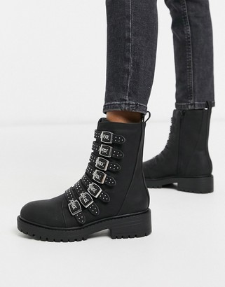 New Look multi strap studded flat boots in black