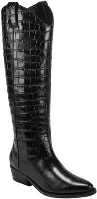 Marc Fisher Haze Croc-Embossed Western Boots