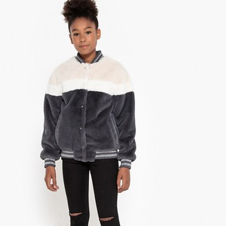 La Redoute Collections Faux Fur Bomber Jacket, 10-16 Years