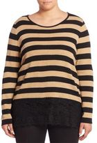Marina Rinaldi, Plus Size Relaxed-Fit Striped Lace Trim Top