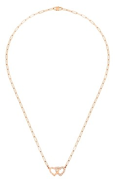 Dinh Van 18K Rose Gold Double Coeurs Chain Link Necklace with Diamonds, 16.5
