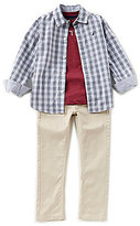Nautica Big Boys 8-20 Plaid Woven Shirt, Knit Tee & Woven Pant Set