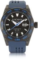 Locman Stealth 300 mt Automatic Black Carbon Fiber and Titanium Case w/Blue Silicone Strap Men's Watch