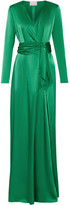 Lanvin Wrap-effect Silk-satin Gown - Green