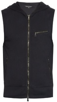 John Varvatos Sleeveless Cotton-jersey Hooded Sweatshirt