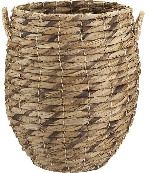 Crate & Barrel Marikit Tall Basket with Rope Handles.