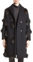 Fabiana Filippi Women's Genuine Fox Fur Trim Wool Blend Coat