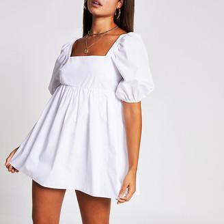 River Island White short puff sleeve playsuit
