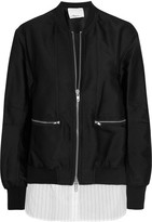 3.1 Phillip Lim Poplin-paneled Satin-twill Bomber Jacket - Black