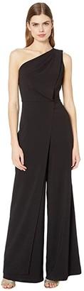 Halston Asymmetric Draped Jumpsuit (Black) Women's Jumpsuit & Rompers One Piece
