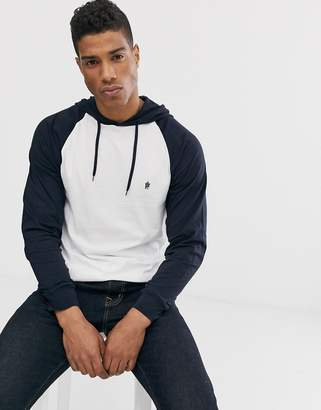 French Connection long sleeve raglan hooded top-White