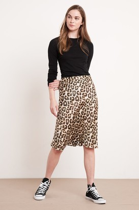Velvet by Graham & Spencer Nonna Leopard Satin Viscose Skirt