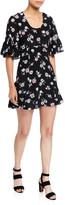 Les Rêveries Floral Ruffle-Sleeve Mini Dress