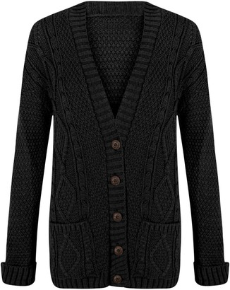 janisramone Womens Ladies New Aran Cable Knitted Button Up Long Sleeve Grandad Cardigan Jumper Sweater Top Black