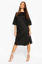 boohoo Cotton Roll Sleeve Oversized Midi Dress
