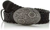 Betsey Johnson Women's Braided Plaque Pant Belt