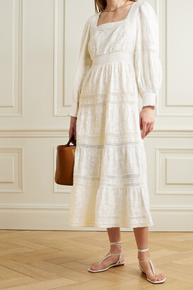 ALICE + OLIVIA - Finley Lace-trimmed Embroidered Cotton-voile Midi Dress - Off-white