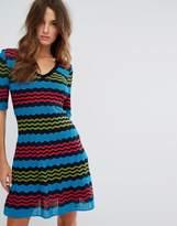 M Missoni Short Sleeve A Line Wool Mix Knit Dress