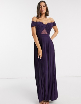 Bardot Asos Design ASOS DESIGN Fuller Bust premium lace and pleat maxi dress-Purple