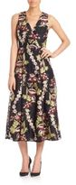 Alice + Olivia Tamera Embroidered A-Line Midi Dress