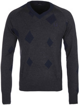Fred Perry Laurel Wreath Twisted Argyle Charcoal V-neck Sweater