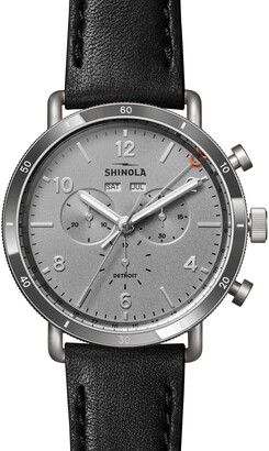 Shinola The Canfield Sport Chronograph Leather Strap Watch, 45mm