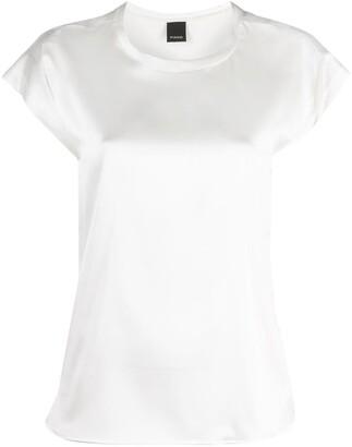 Pinko stretch-silk round neck T-shirt