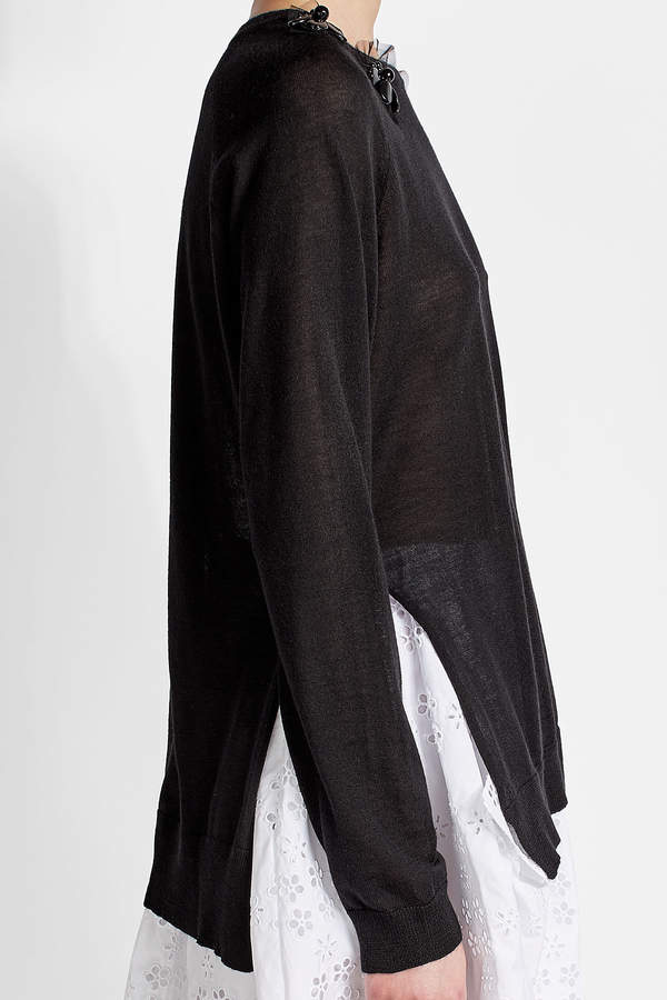 Simone Rocha Embellished Pullover with Merino Wool, Silk and Cashmere